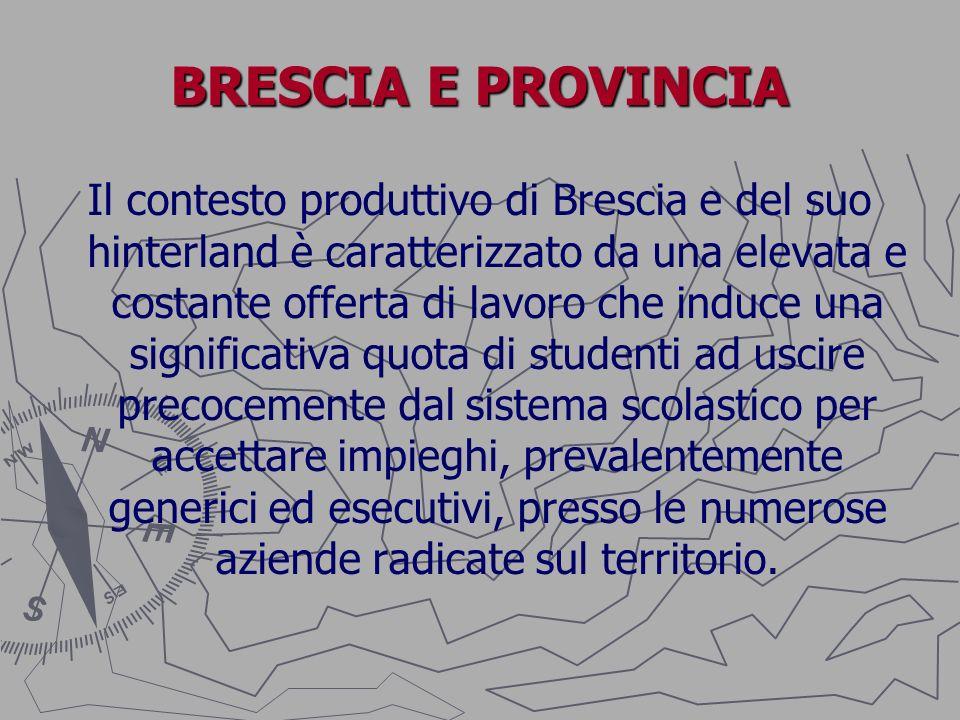 BRESCIA E PROVINCIA Il contesto produttivo di Brescia e del suo hinterland è caratterizzato da una elevata e costante offerta di lavoro che induce una