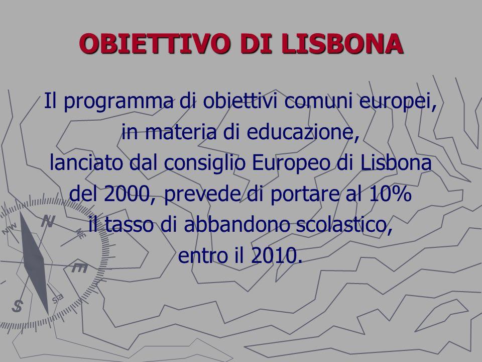 OBIETTIVO DI LISBONA Il programma di obiettivi comuni europei, in materia di educazione, lanciato dal consiglio Europeo di Lisbona del 2000, prevede d
