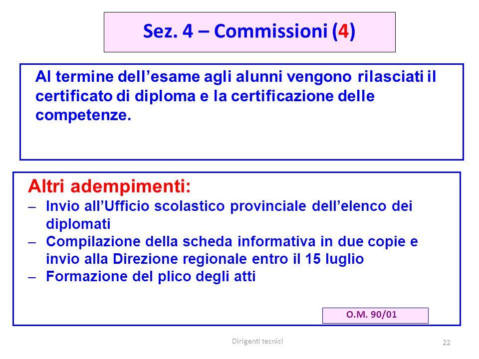 Dirigenti tecnici 22 Al termine dellesame agli alunni vengono rilasciati il certificato di diploma e la certificazione delle competenze.