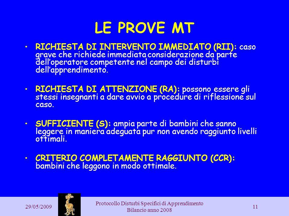 29/05/2009 Protocollo Disturbi Specifici di Apprendimento Bilancio anno 2008 11 LE PROVE MT RICHIESTA DI INTERVENTO IMMEDIATO (RII): caso grave che ri