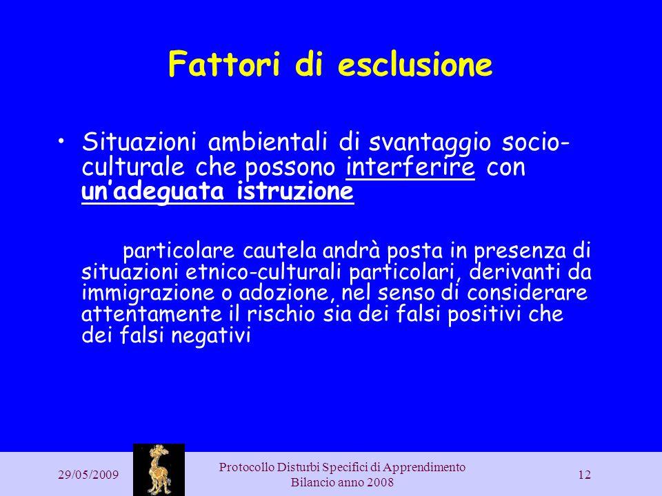 29/05/2009 Protocollo Disturbi Specifici di Apprendimento Bilancio anno 2008 12 Fattori di esclusione Situazioni ambientali di svantaggio socio- cultu