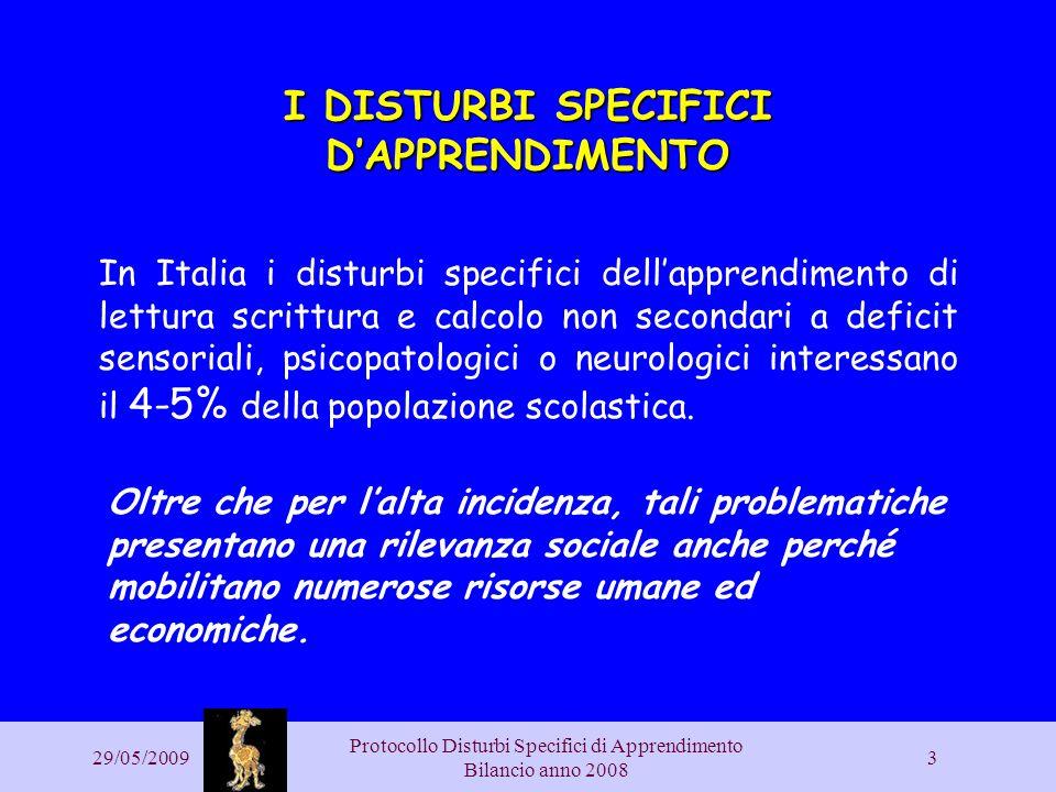 29/05/2009 Protocollo Disturbi Specifici di Apprendimento Bilancio anno 2008 3 I DISTURBI SPECIFICI DAPPRENDIMENTO In Italia i disturbi specifici dell