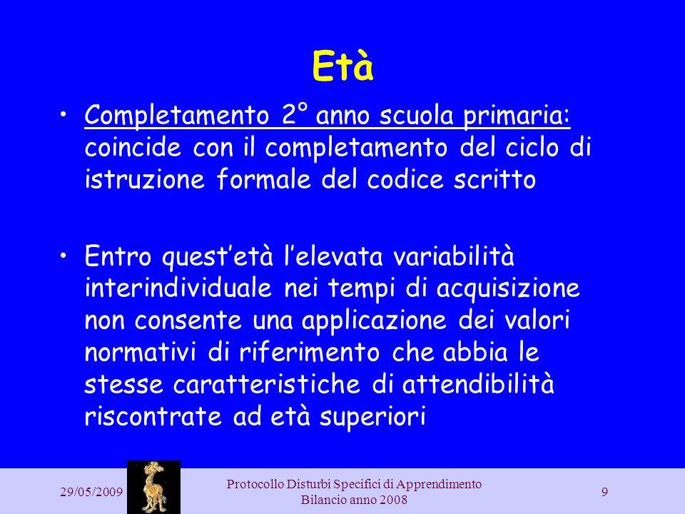 29/05/2009 Protocollo Disturbi Specifici di Apprendimento Bilancio anno 2008 9 Età Completamento 2° anno scuola primaria: coincide con il completament
