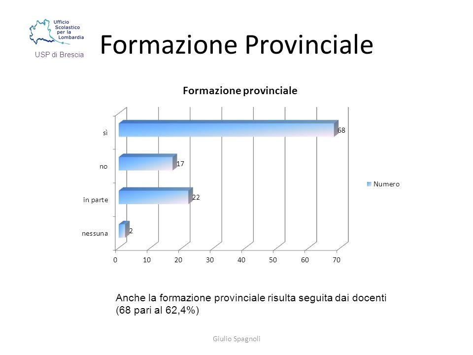 Formazione Provinciale Giulio Spagnoli USP di Brescia Anche la formazione provinciale risulta seguita dai docenti (68 pari al 62,4%)