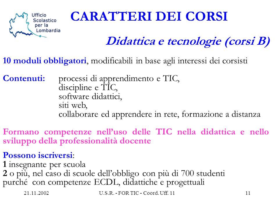 21.11.2002U.S.R. - FOR TIC - Coord. Uff. 1110 CARATTERI DEI CORSI Informatica di base (corsi A) 10 moduli a scelta tra 14 di cui obbligatori 3 del sil