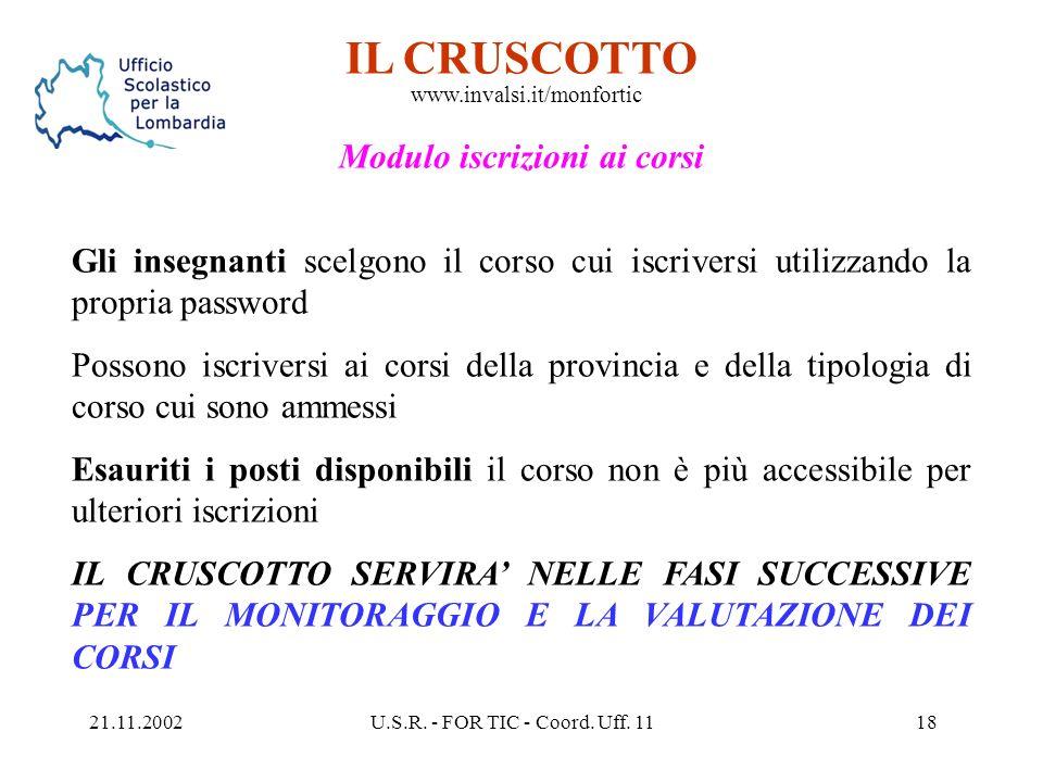 21.11.2002U.S.R. - FOR TIC - Coord. Uff. 1117 IL CRUSCOTTO www.invalsi.it/monfortic Modulo di avvio I D.S utilizzano la password di accesso per segnal