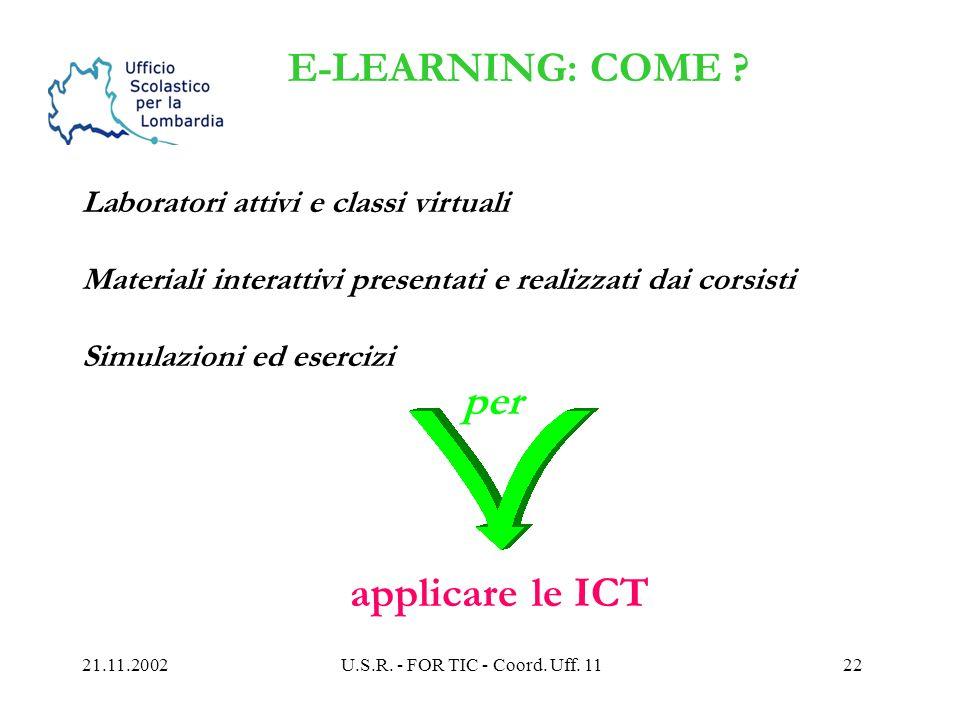 21.11.2002U.S.R. - FOR TIC - Coord. Uff. 1121 I TEMPI cfr. avviso/i su sito www.istruzione.lombardia.it utilizzo cruscotto: da inizio novembre candida