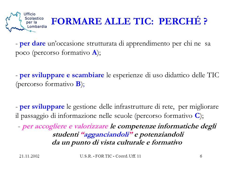 21.11.2002U.S.R. - FOR TIC - Coord. Uff. 115 FOR TIC Le tre azioni-tipo A, B e C A : luso di base dellICT (...20.000 insegnanti principianti ) B : il