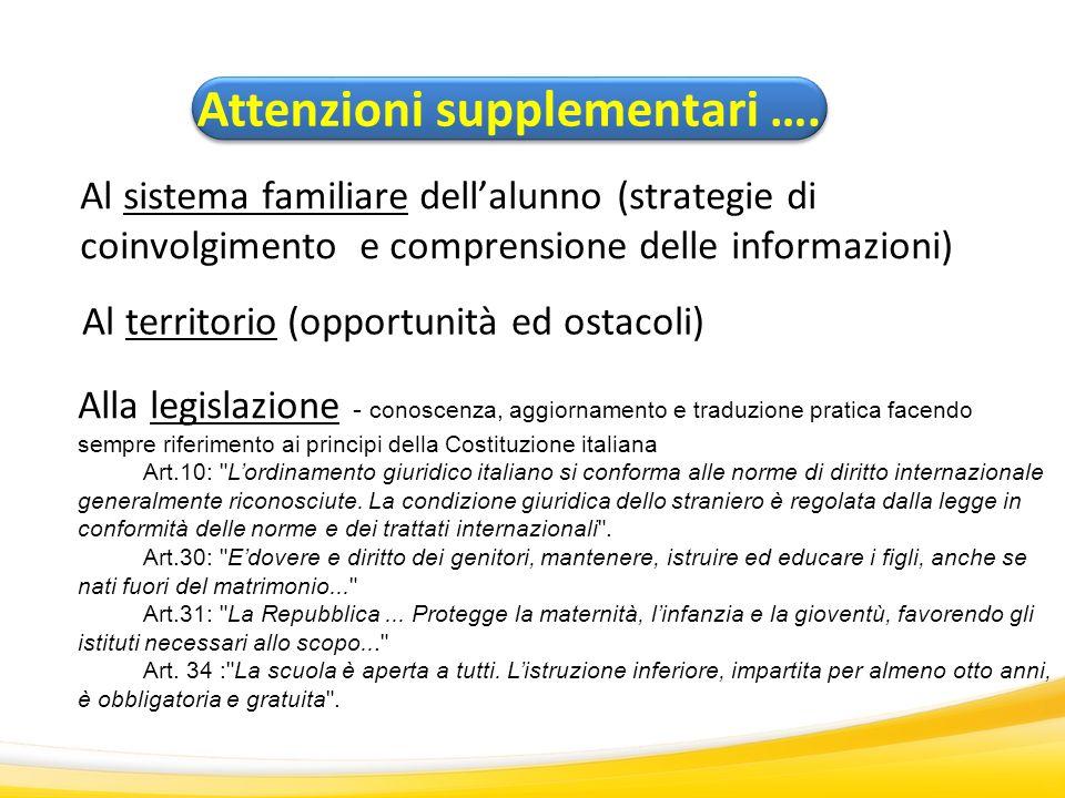 Al sistema familiare dellalunno (strategie di coinvolgimento e comprensione delle informazioni) Attenzioni supplementari …. Al territorio (opportunità