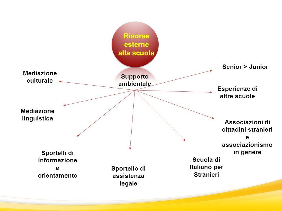 Supporto ambientale Mediazione culturale Sportello di assistenza legale Mediazione linguistica Sportelli di informazione e orientamento Risorse estern
