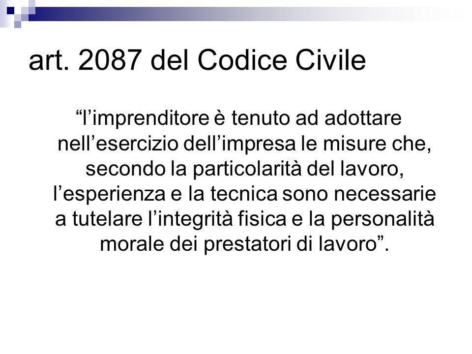 art. 2087 del Codice Civile limprenditore è tenuto ad adottare nellesercizio dellimpresa le misure che, secondo la particolarità del lavoro, lesperien