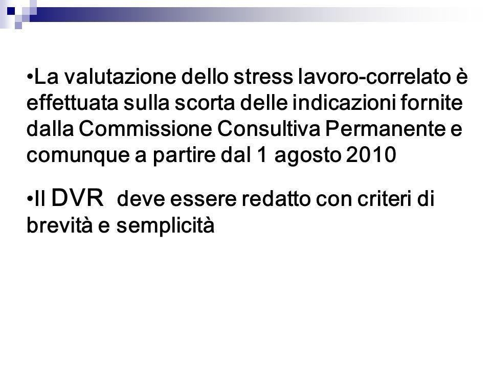 La valutazione dello stress lavoro-correlato è effettuata sulla scorta delle indicazioni fornite dalla Commissione Consultiva Permanente e comunque a