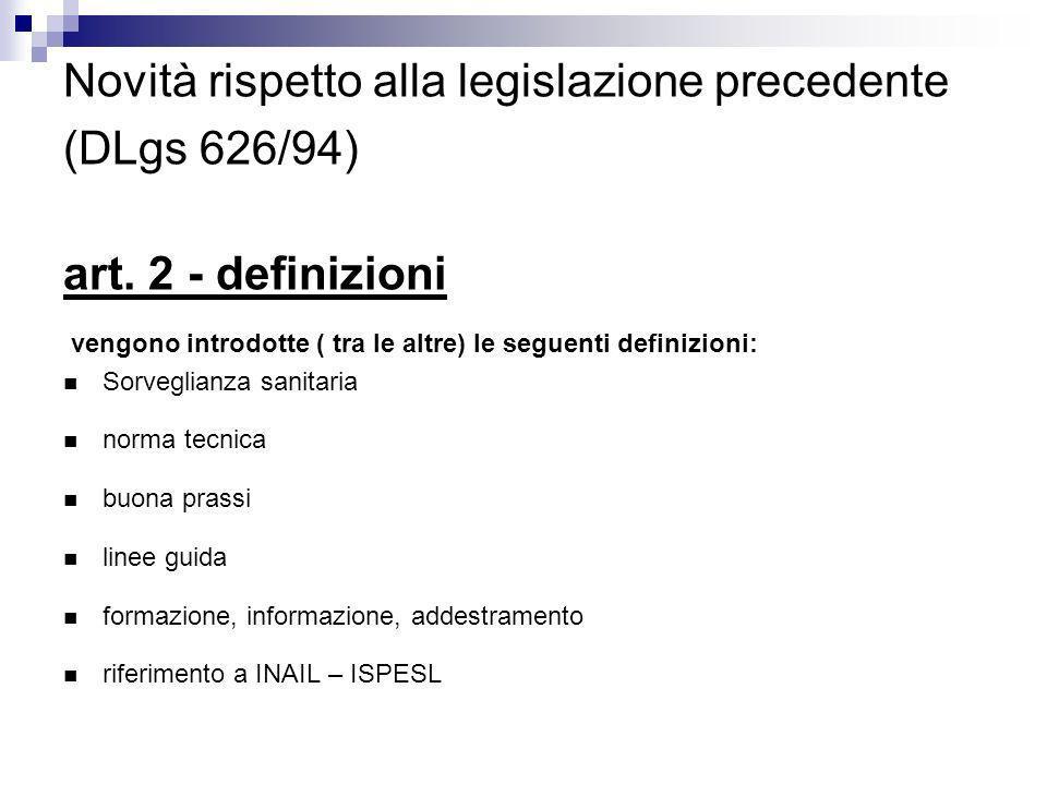 Novità rispetto alla legislazione precedente (DLgs 626/94) art. 2 - definizioni vengono introdotte ( tra le altre) le seguenti definizioni: Sorveglian