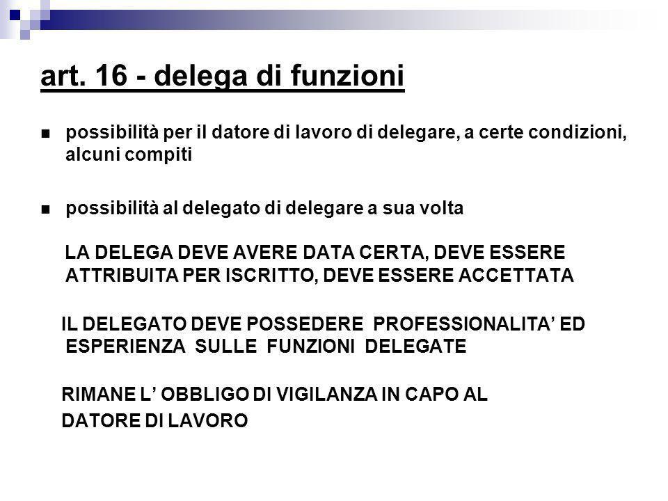 art. 16 - delega di funzioni possibilità per il datore di lavoro di delegare, a certe condizioni, alcuni compiti possibilità al delegato di delegare a