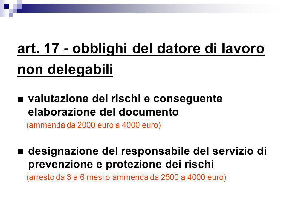 art. 17 - obblighi del datore di lavoro non delegabili valutazione dei rischi e conseguente elaborazione del documento (ammenda da 2000 euro a 4000 eu