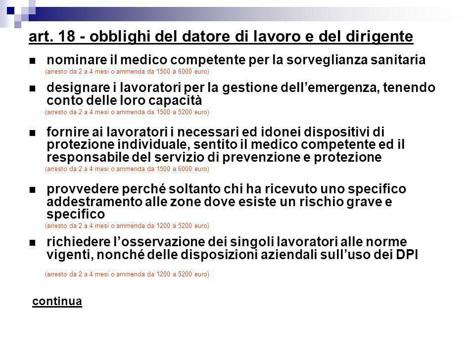 art. 18 - obblighi del datore di lavoro e del dirigente nominare il medico competente per la sorveglianza sanitaria (arresto da 2 a 4 mesi o ammenda d