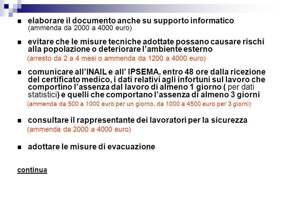 elaborare il documento anche su supporto informatico (ammenda da 2000 a 4000 euro) evitare che le misure tecniche adottate possano causare rischi alla