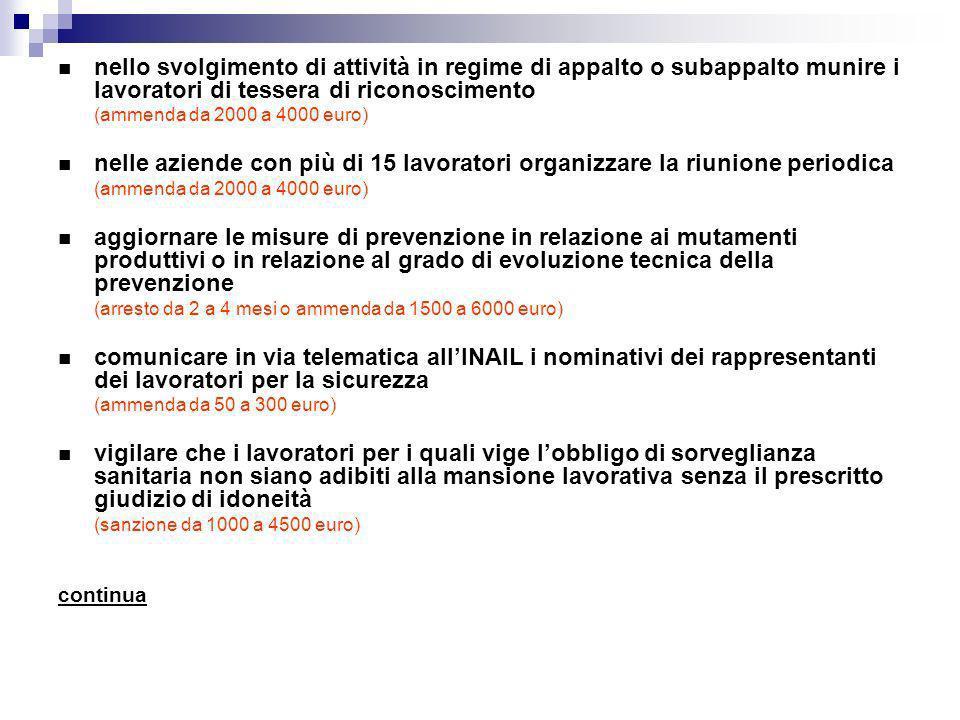 nello svolgimento di attività in regime di appalto o subappalto munire i lavoratori di tessera di riconoscimento (ammenda da 2000 a 4000 euro) nelle a