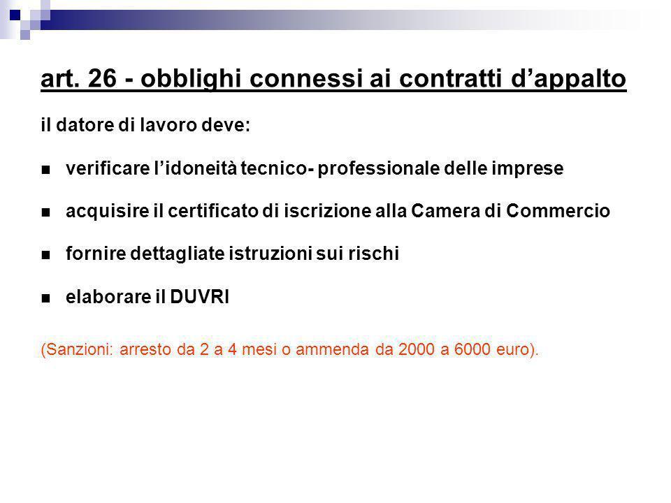 art. 26 - obblighi connessi ai contratti dappalto il datore di lavoro deve: verificare lidoneità tecnico- professionale delle imprese acquisire il cer
