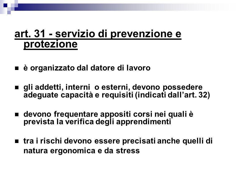 art. 31 - servizio di prevenzione e protezione è organizzato dal datore di lavoro gli addetti, interni o esterni, devono possedere adeguate capacità e