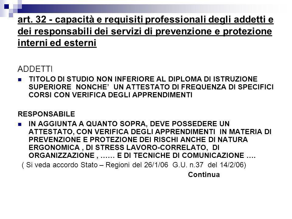 art. 32 - capacità e requisiti professionali degli addetti e dei responsabili dei servizi di prevenzione e protezione interni ed esterni ADDETTI TITOL