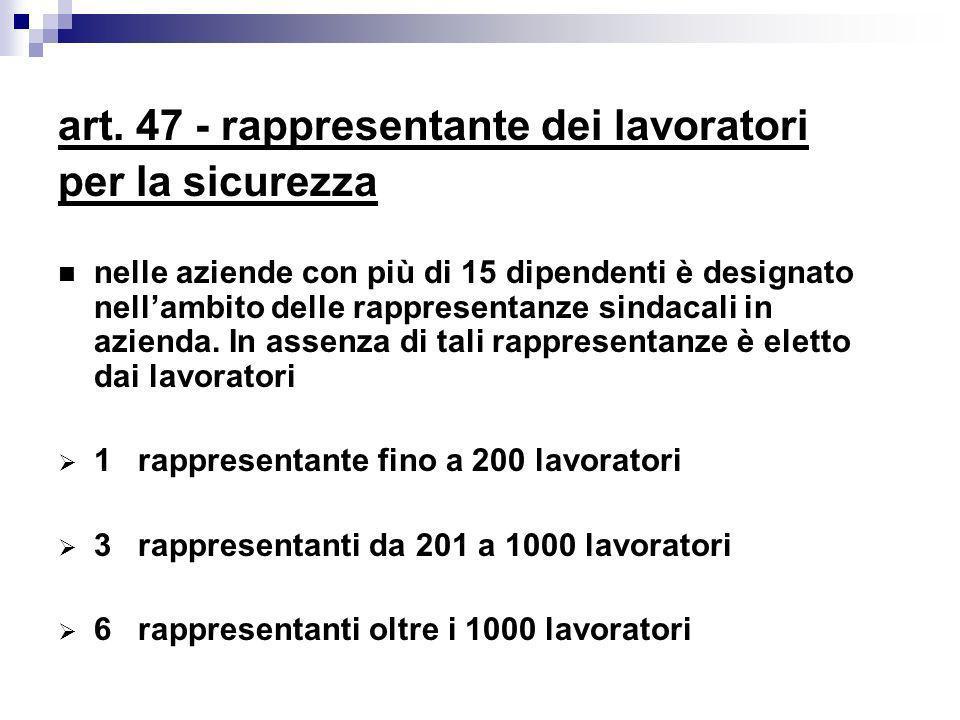 art. 47 - rappresentante dei lavoratori per la sicurezza nelle aziende con più di 15 dipendenti è designato nellambito delle rappresentanze sindacali
