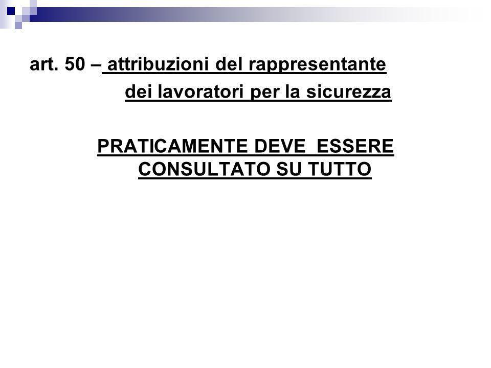 art. 50 – attribuzioni del rappresentante dei lavoratori per la sicurezza PRATICAMENTE DEVE ESSERE CONSULTATO SU TUTTO