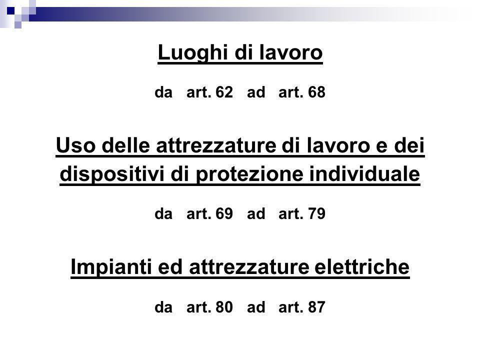 Luoghi di lavoro da art. 62 ad art. 68 Uso delle attrezzature di lavoro e dei dispositivi di protezione individuale da art. 69 ad art. 79 Impianti ed