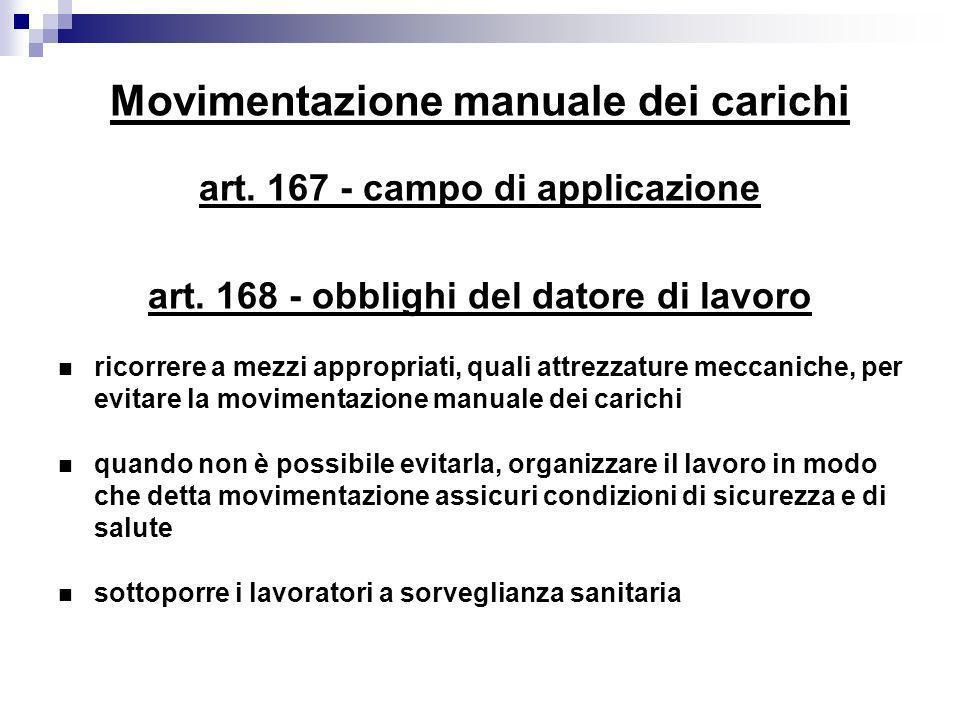 Movimentazione manuale dei carichi art. 167 - campo di applicazione art. 168 - obblighi del datore di lavoro ricorrere a mezzi appropriati, quali attr