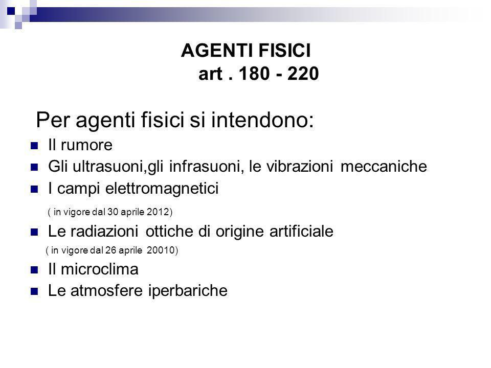 AGENTI FISICI art. 180 - 220 Per agenti fisici si intendono: Il rumore Gli ultrasuoni,gli infrasuoni, le vibrazioni meccaniche I campi elettromagnetic