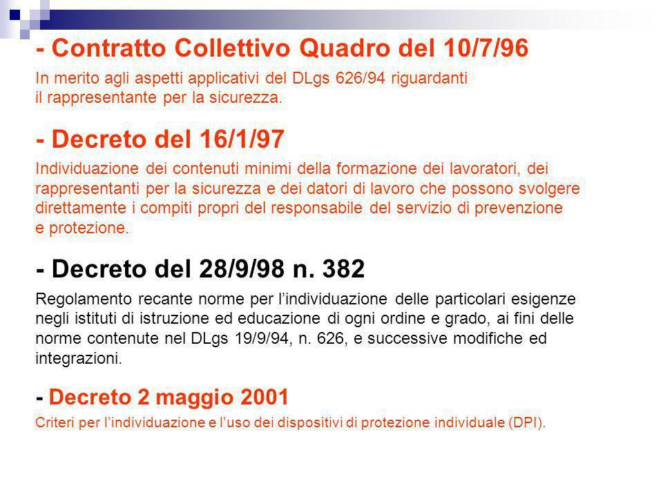 - Contratto Collettivo Quadro del 10/7/96 In merito agli aspetti applicativi del DLgs 626/94 riguardanti il rappresentante per la sicurezza. - Decreto