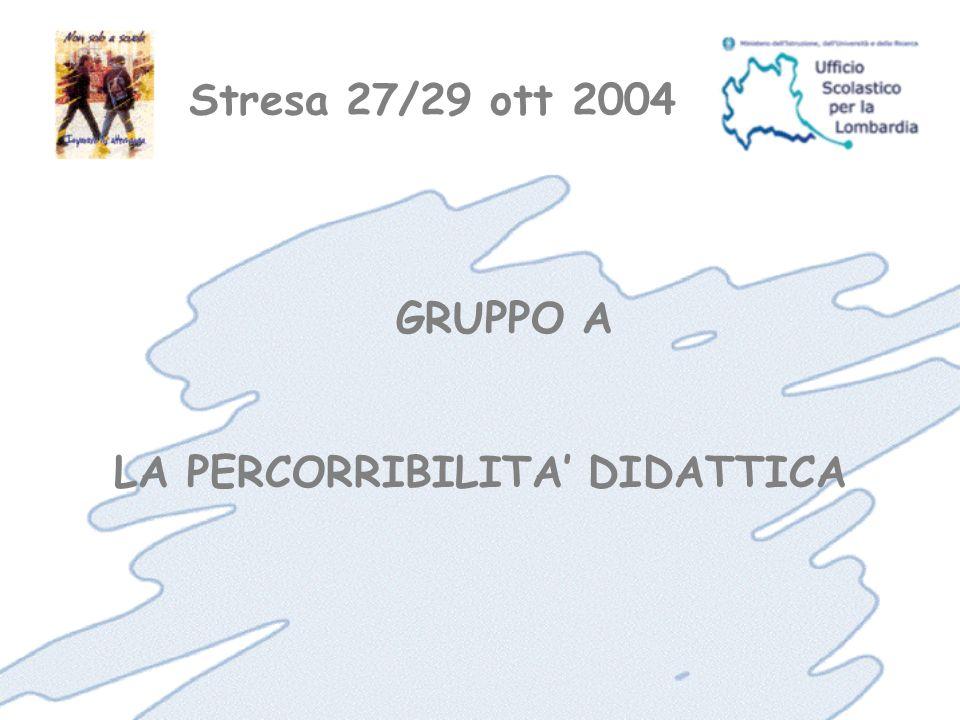 Stresa 27/29 ott 2004 GRUPPO A LA PERCORRIBILITA DIDATTICA