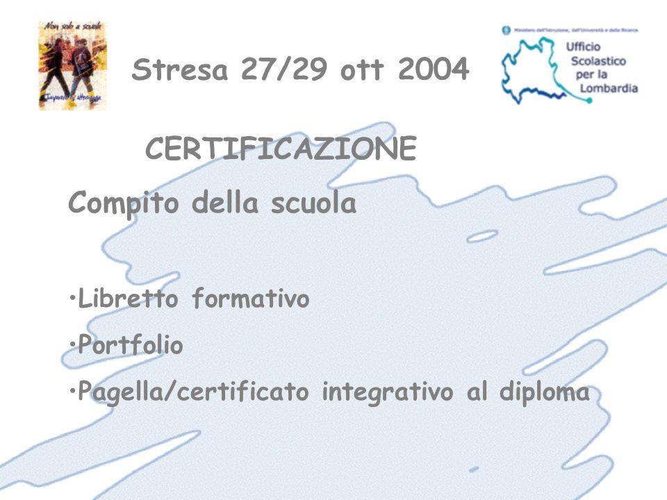 Stresa 27/29 ott 2004 Libretto formativo Portfolio Pagella/certificato integrativo al diploma CERTIFICAZIONE Compito della scuola