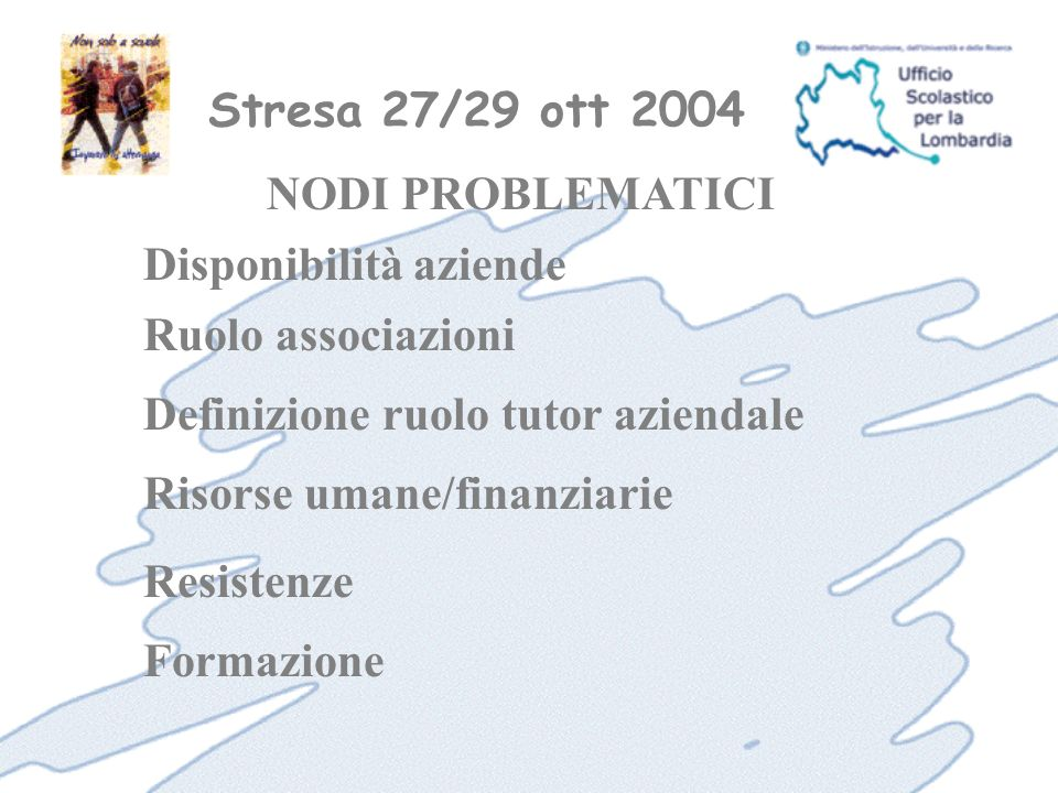 Stresa 27/29 ott 2004 Formazione NODI PROBLEMATICI Disponibilità aziende Ruolo associazioni Definizione ruolo tutor aziendale Risorse umane/finanziarie Resistenze