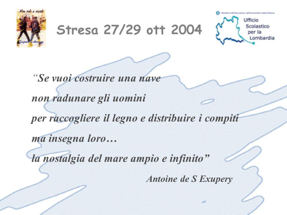 Stresa 27/29 ott 2004 Se vuoi costruire una nave non radunare gli uomini per raccogliere il legno e distribuire i compiti ma insegna loro… la nostalgia del mare ampio e infinito Antoine de S Exupery
