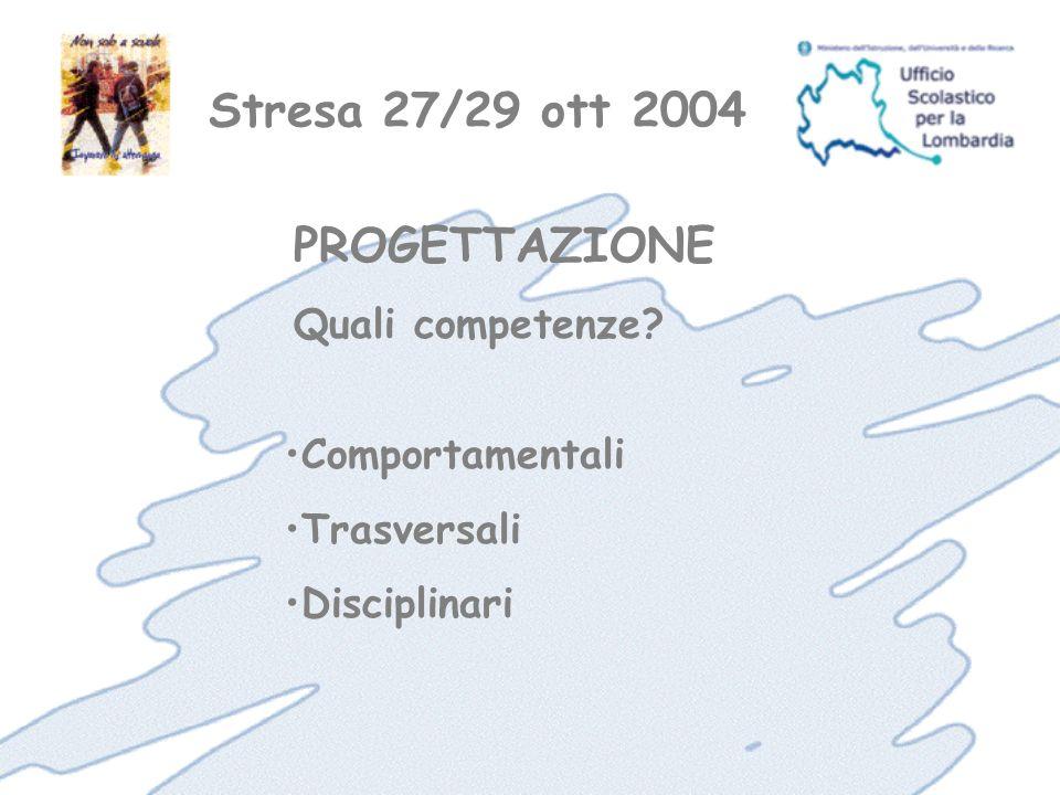 Stresa 27/29 ott 2004 Comportamentali Trasversali Disciplinari PROGETTAZIONE Quali competenze