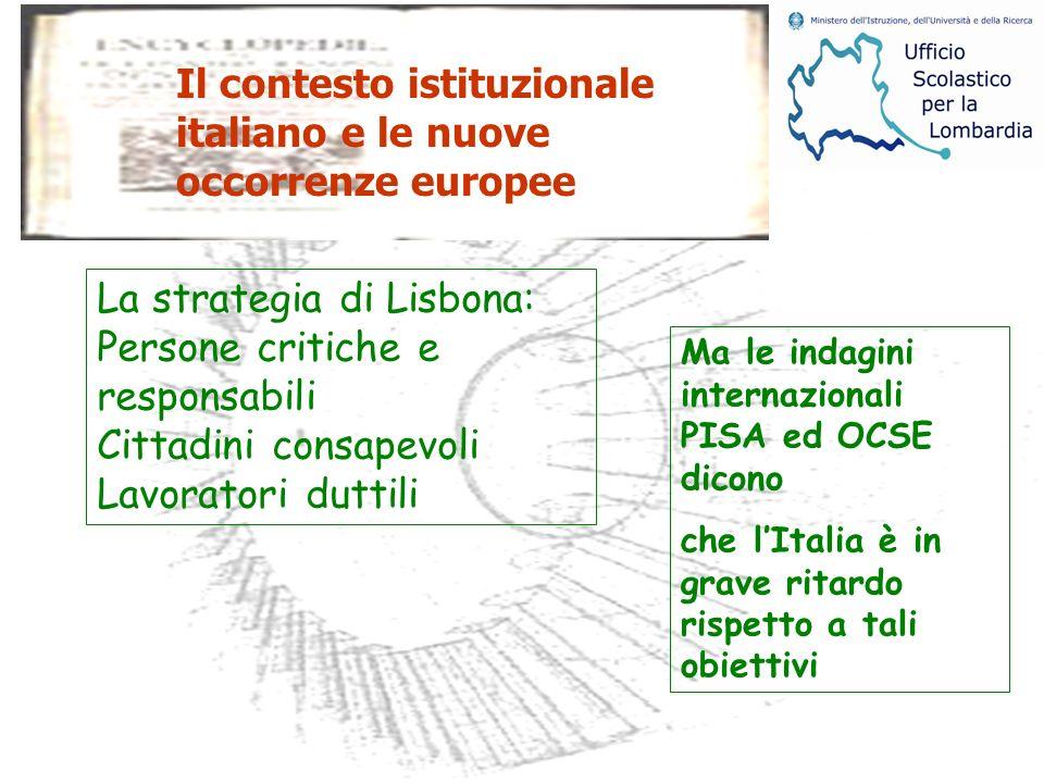 La strategia di Lisbona: Persone critiche e responsabili Cittadini consapevoli Lavoratori duttili Ma le indagini internazionali PISA ed OCSE dicono che lItalia è in grave ritardo rispetto a tali obiettivi Il contesto istituzionale italiano e le nuove occorrenze europee