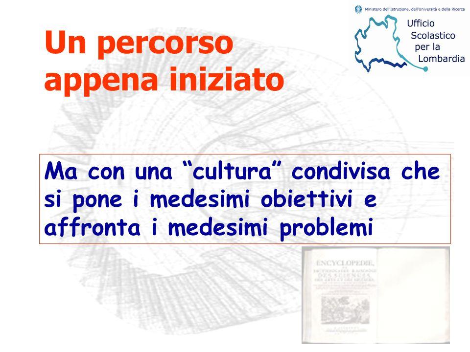 Ma con una cultura condivisa che si pone i medesimi obiettivi e affronta i medesimi problemi Un percorso appena iniziato