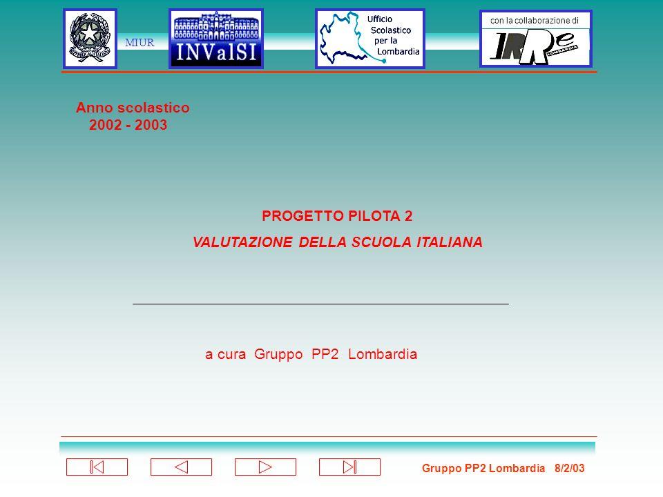 Gruppo PP2 Lombardia 8/2/03 con la collaborazione di MIUR PROGETTO PILOTA 2 VALUTAZIONE DELLA SCUOLA ITALIANA a cura Gruppo PP2 Lombardia Anno scolastico 2002 - 2003