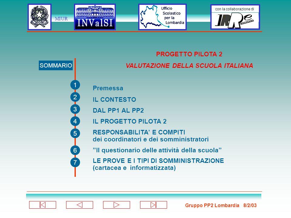 Gruppo PP2 Lombardia 8/2/03 con la collaborazione di MIUR PROGETTO PILOTA 2 VALUTAZIONE DELLA SCUOLA ITALIANA SOMMARIO 1 2 3 4 5 6 7 Premessa IL CONTESTO DAL PP1 AL PP2 IL PROGETTO PILOTA 2 RESPONSABILITA E COMPITI dei coordinatori e dei somministratori Il questionario delle attività della scuola LE PROVE E I TIPI DI SOMMINISTRAZIONE (cartacea e informatizzata)