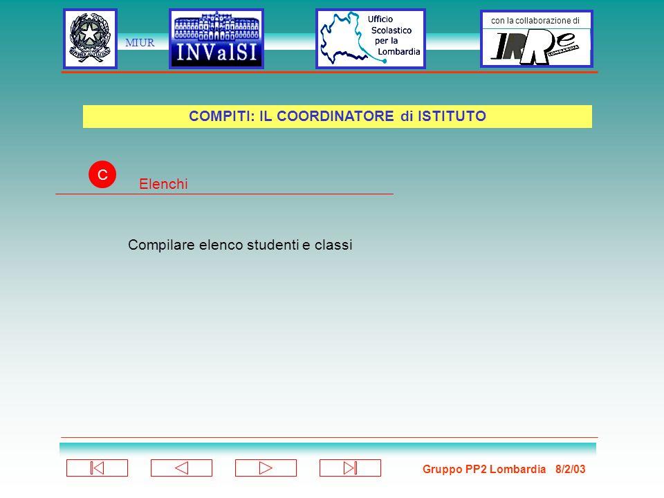 Gruppo PP2 Lombardia 8/2/03 con la collaborazione di MIUR Compilare elenco studenti e classi COMPITI: IL COORDINATORE di ISTITUTO C Elenchi