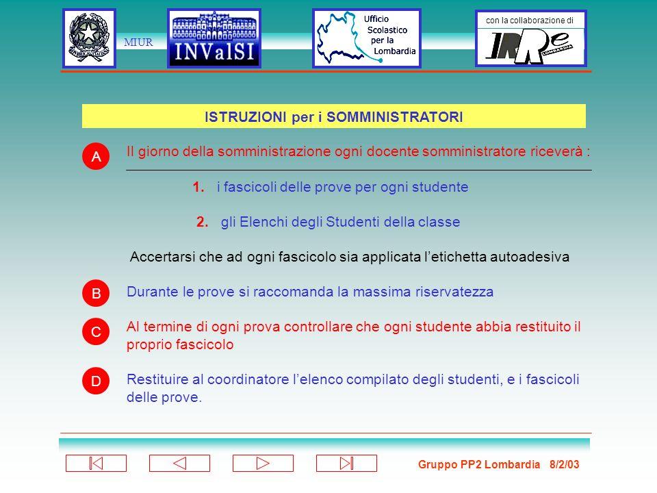 Gruppo PP2 Lombardia 8/2/03 con la collaborazione di MIUR Il giorno della somministrazione ogni docente somministratore riceverà : 1.
