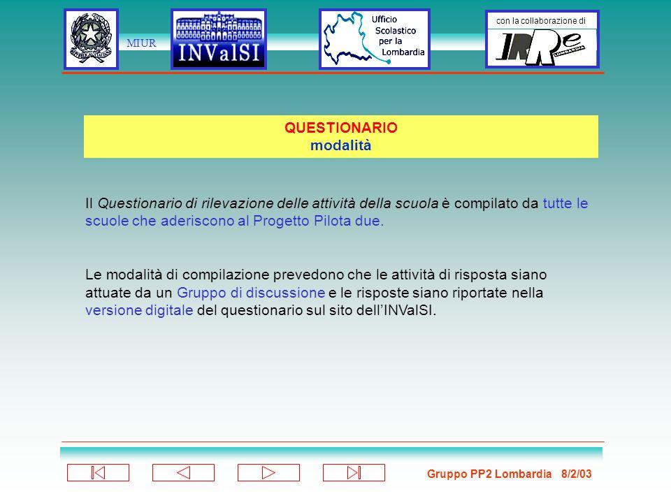Gruppo PP2 Lombardia 8/2/03 con la collaborazione di MIUR Il Questionario di rilevazione delle attività della scuola è compilato da tutte le scuole che aderiscono al Progetto Pilota due.
