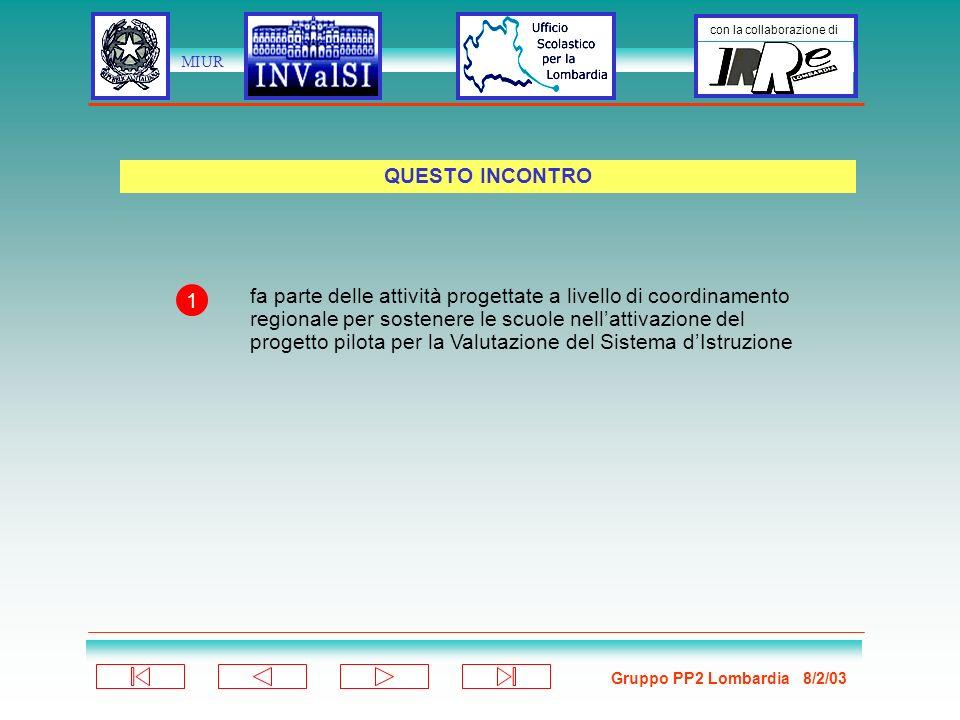 Gruppo PP2 Lombardia 8/2/03 con la collaborazione di MIUR Le stesse (5 temi fondamentali) per tutti i livelli ma con approfondimenti e specificità disciplinari diversificati: 1.