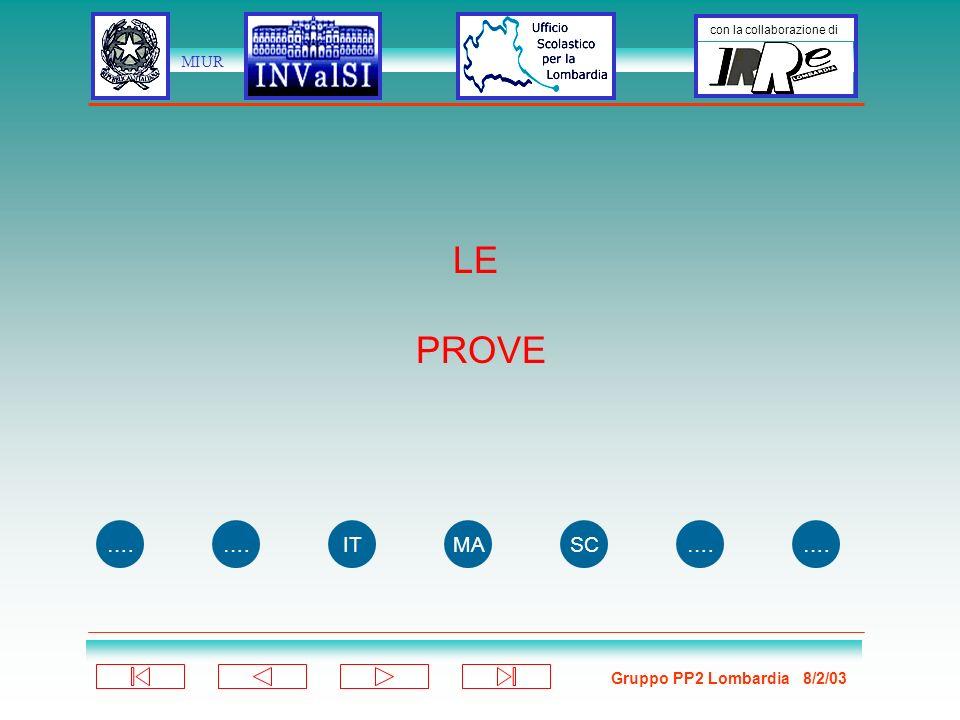 Gruppo PP2 Lombardia 8/2/03 con la collaborazione di MIUR LE PROVE …. ITMASC….
