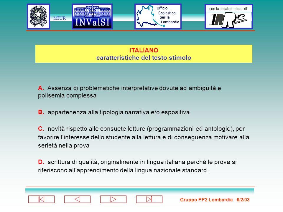 Gruppo PP2 Lombardia 8/2/03 con la collaborazione di MIUR A.