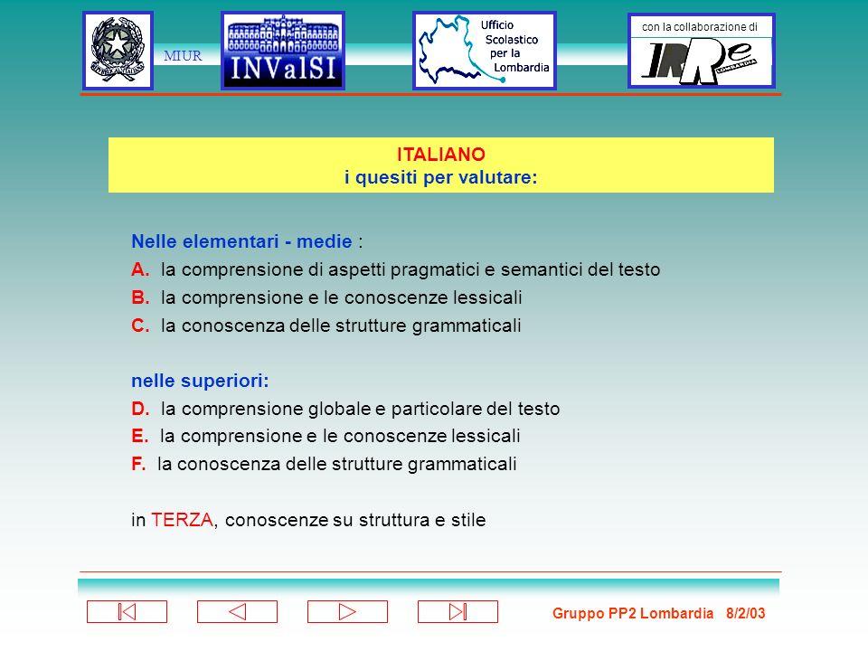 Gruppo PP2 Lombardia 8/2/03 con la collaborazione di MIUR Nelle elementari - medie : A.