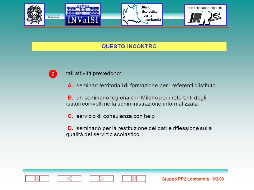 Gruppo PP2 Lombardia 8/2/03 con la collaborazione di MIUR Struttura: testo stimolo 10-15 quesiti a scelta multipla (4 alternative) Proposti due testi: A.