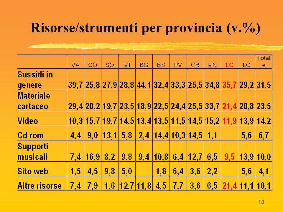 18 Risorse/strumenti per provincia (v.%)
