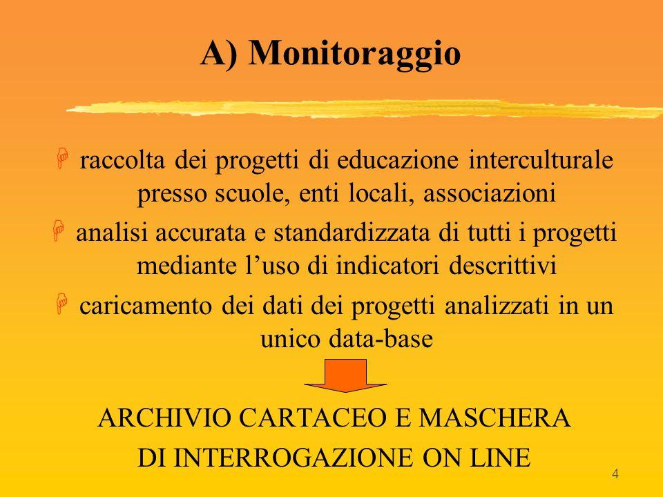 4 A) Monitoraggio Hraccolta dei progetti di educazione interculturale presso scuole, enti locali, associazioni Hanalisi accurata e standardizzata di t